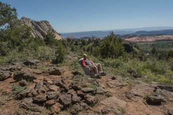 Dean finds the perfect viewing spot on the Kolob Terrace Trail