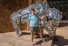A bull made of bumper parts
