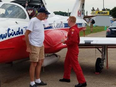 The snowbirds set up camp under their wing among all the other campers at Airventure