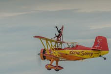 Another person stands on her head for the airshow