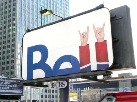 Bell often uses Canadiens' images and colours in its advertisements.