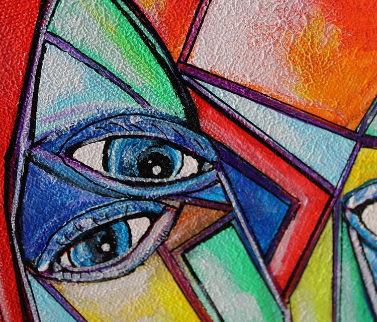 art contemporain personnages géométriques cubisme peinture géométrique