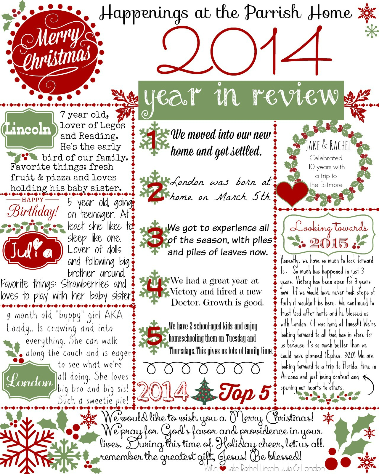 Year In Review Free Printable