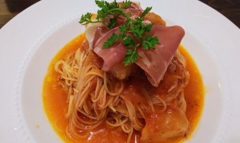 【富士市 フレンチ】ピュアエール 桃と生ハムの冷製パスタ 完熟トマトソース