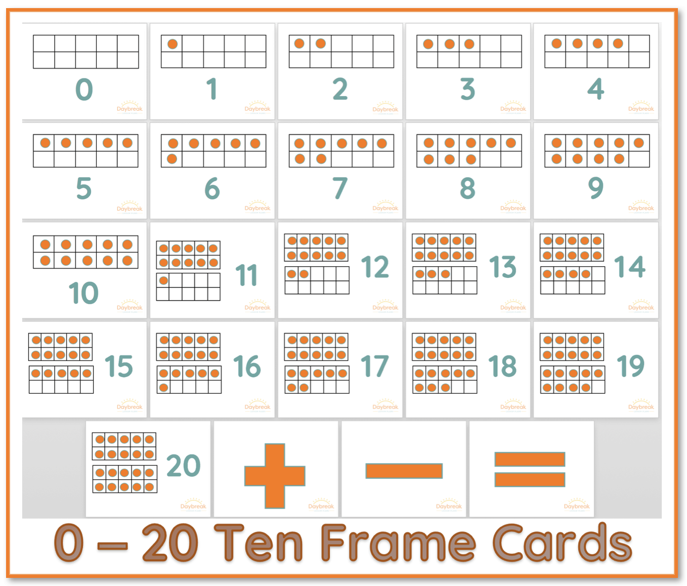 Printable Resource 0 20 Ten Frame Cards