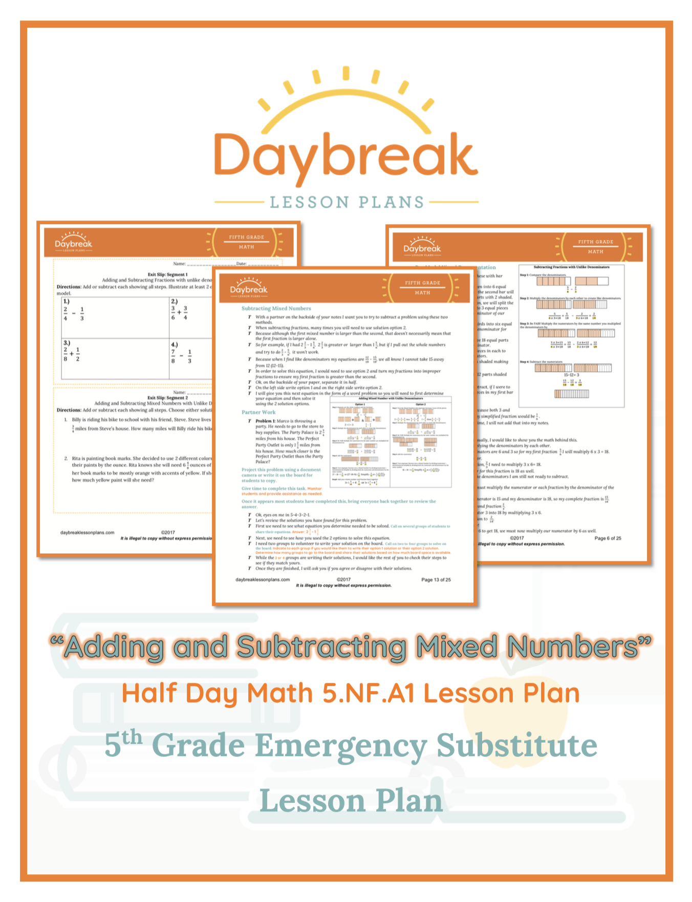 Fractions Adding Subtracting Fractions And Mixed Numbers With Unlike Denominators