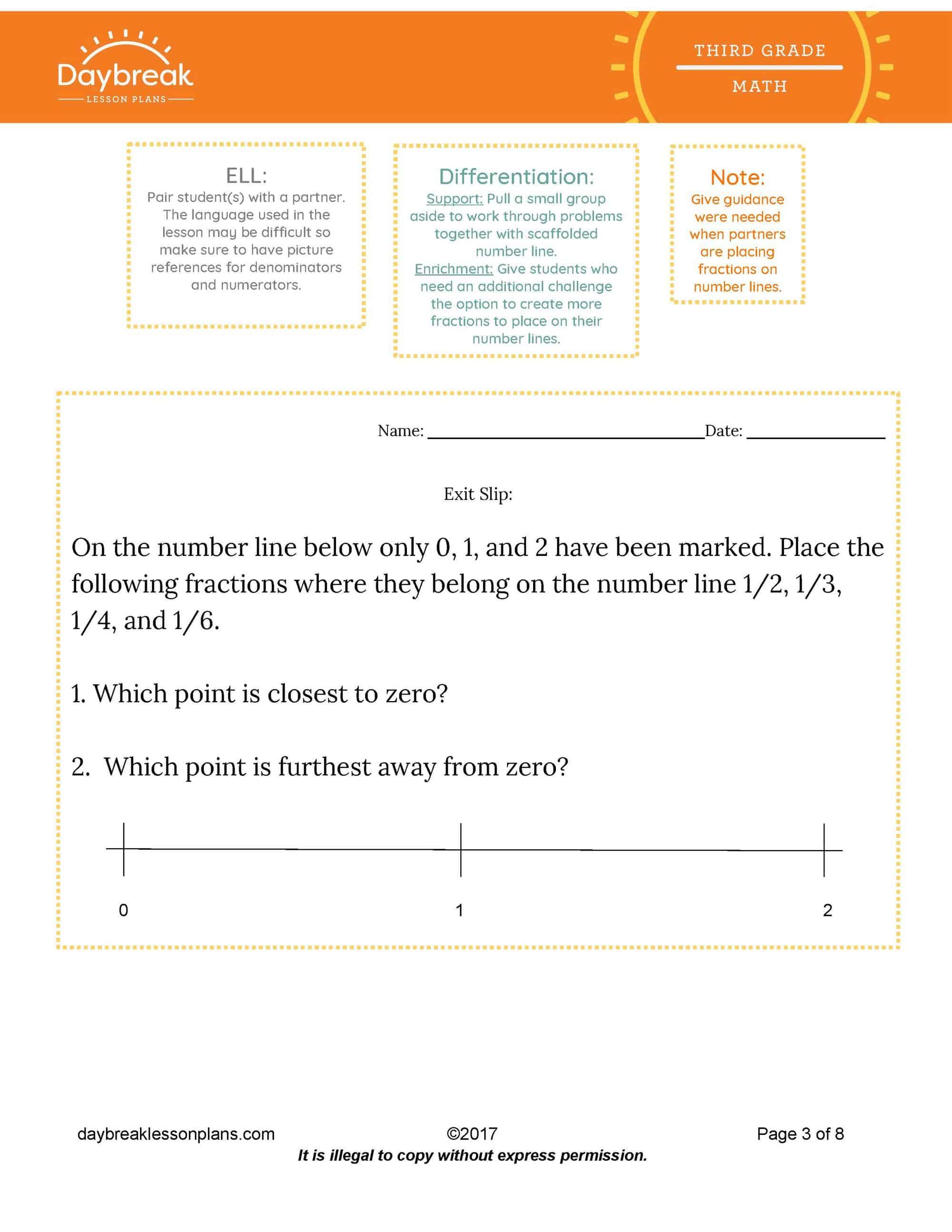 3rd Grade Math Understanding Fractions On A Number Line