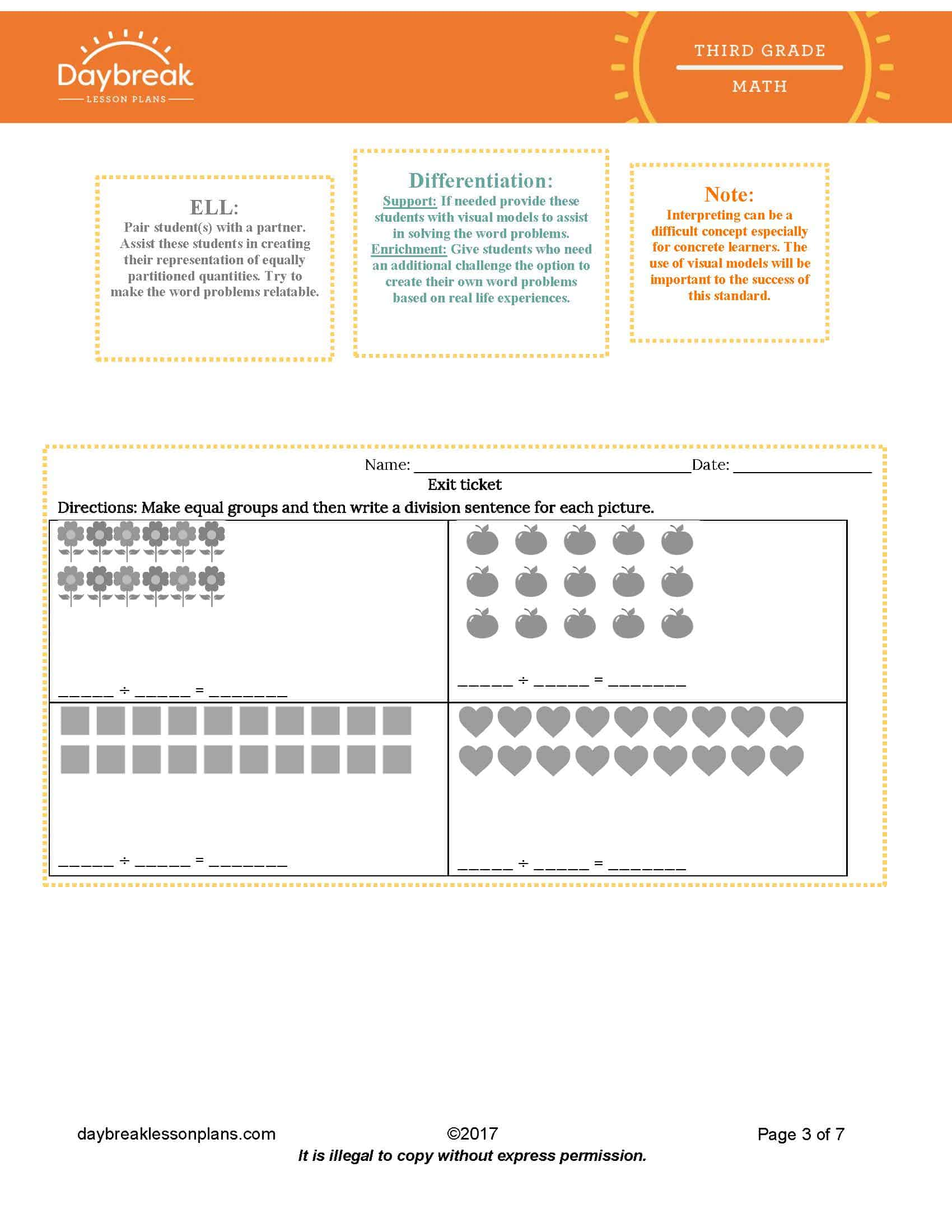 Division Whole Number Quotients As Equal Shares