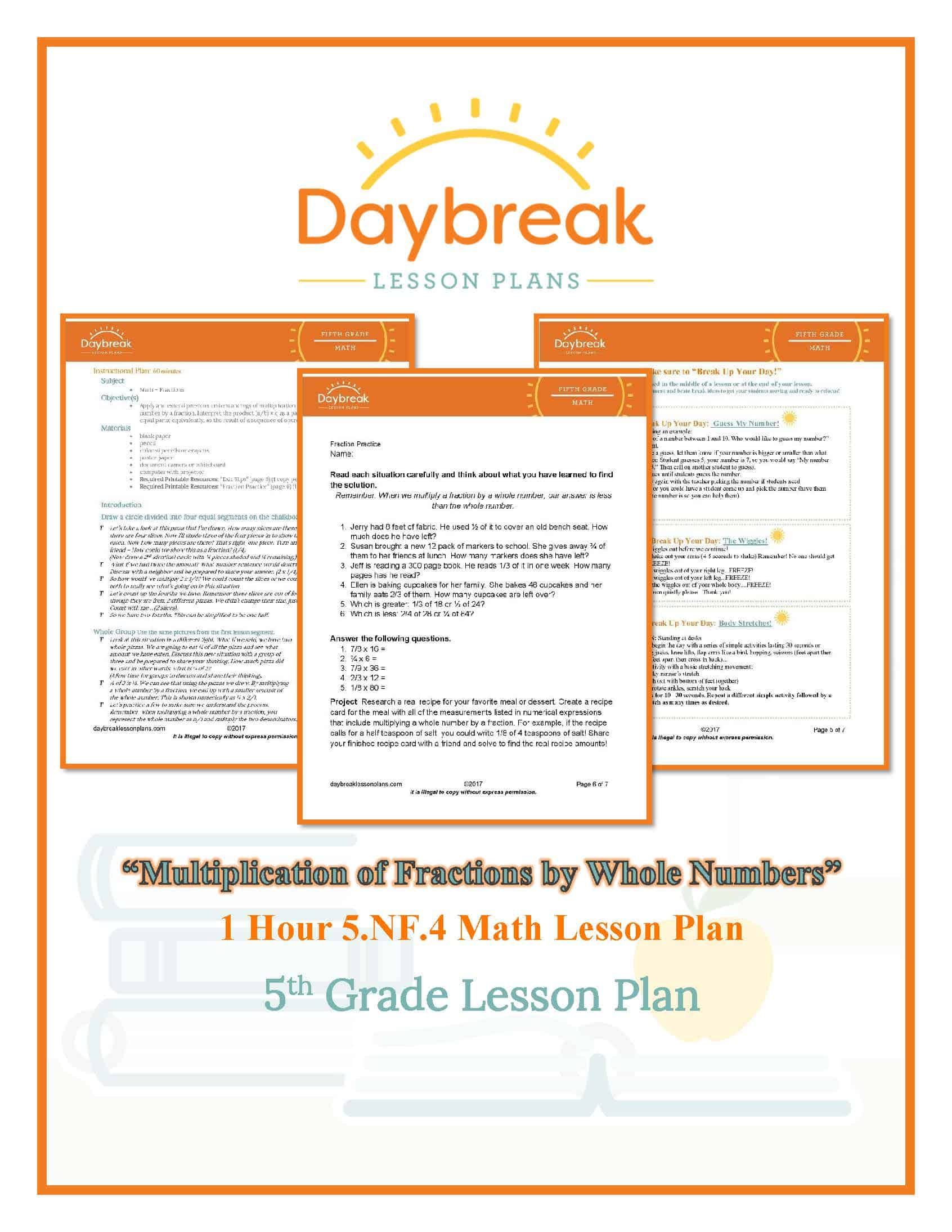 5th Grade Math Multiplication Of Fractions By Whole Numbers