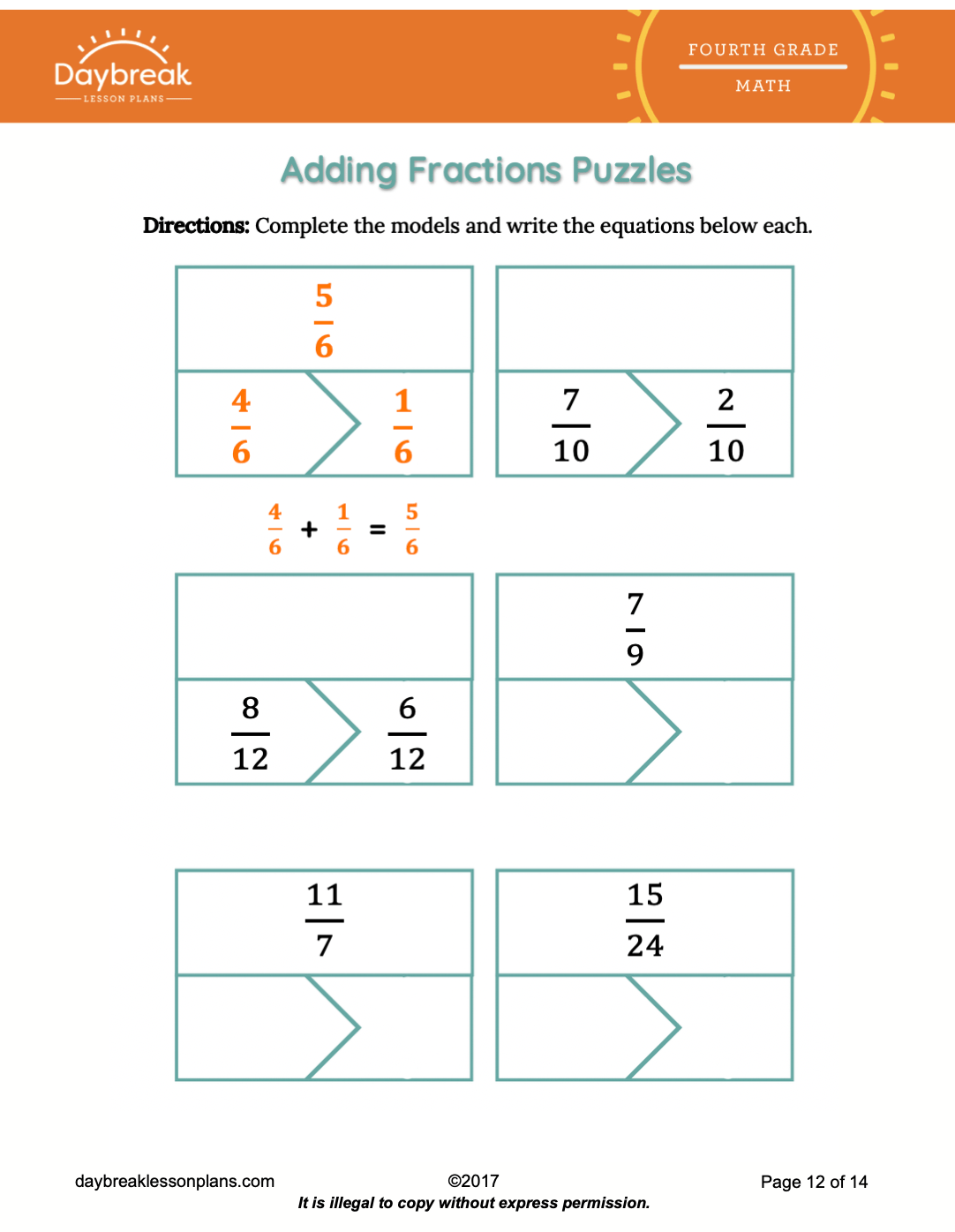 4th Grade Math Number Amp Operations Fractions