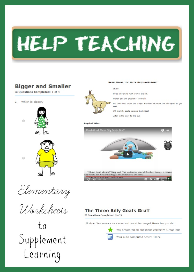 Help Teaching Elementary Worksheets To Supplement Learning