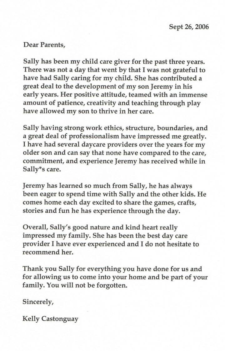 babysitting reference letter samples - Recommendation Letter For Babysitter