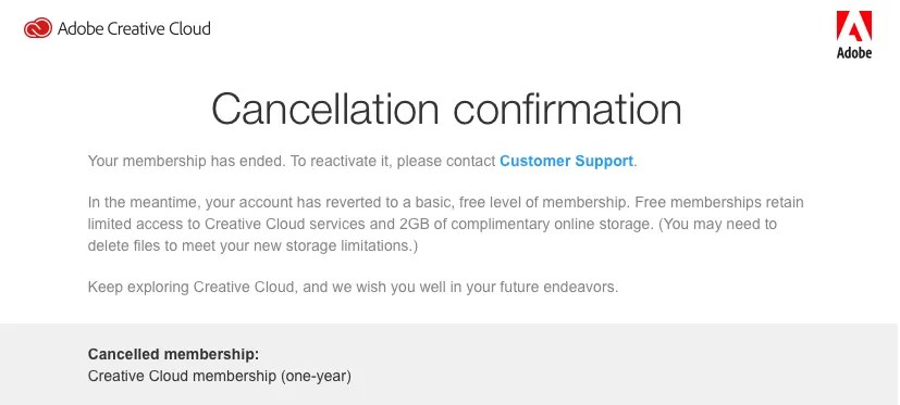 Cancellation confirmation for my Creative Cloud membership. What I wanted to achieve on #the100dayproject.
