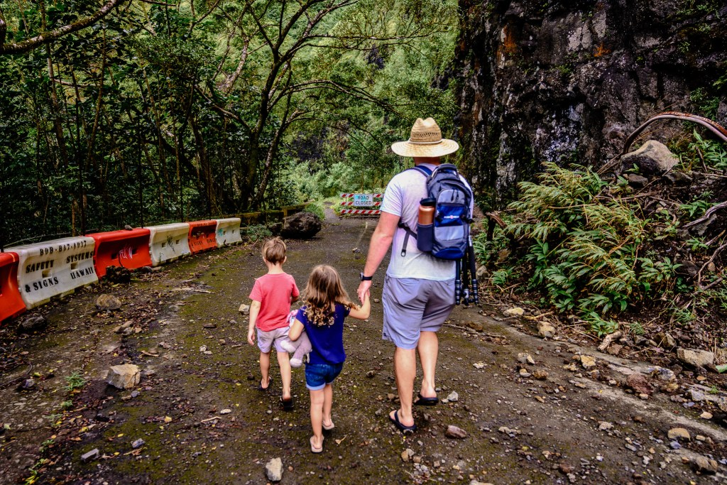 mountain view family hike old Pali highway oahu hawaii travel with kids