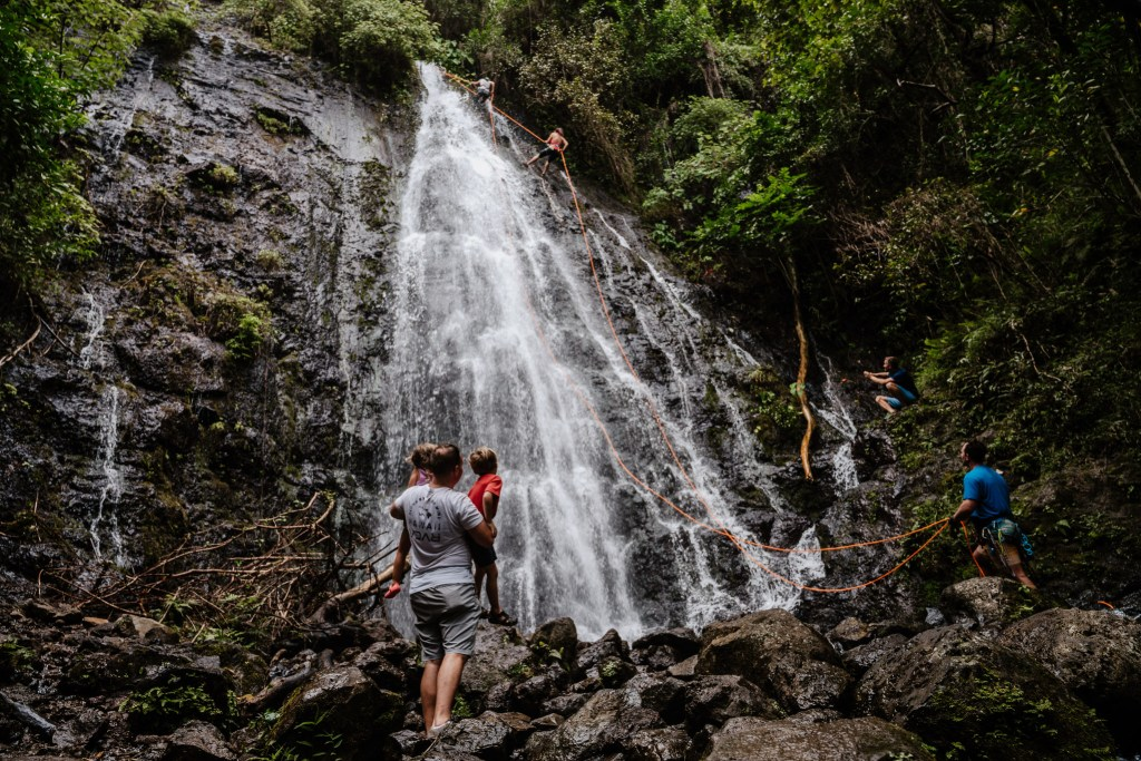 waterfall hamama falls trail oahu hawaii, family hikes, kids in nature, unschooling