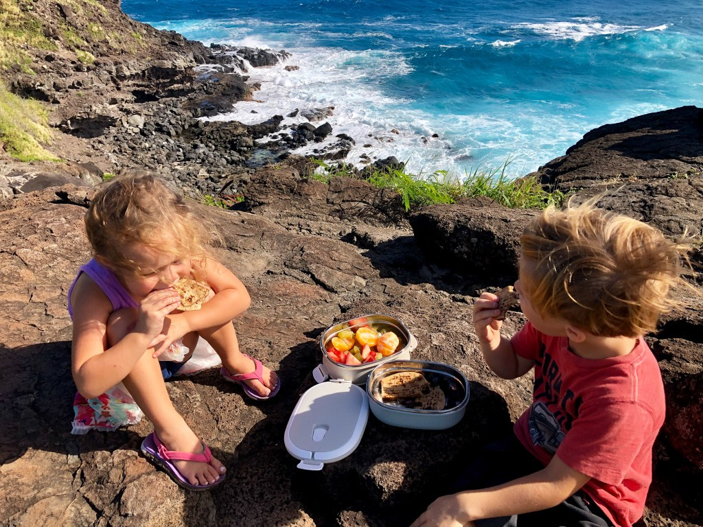 kids eating lunch on outdoor adventure from healthy bento box with fruits and veggie