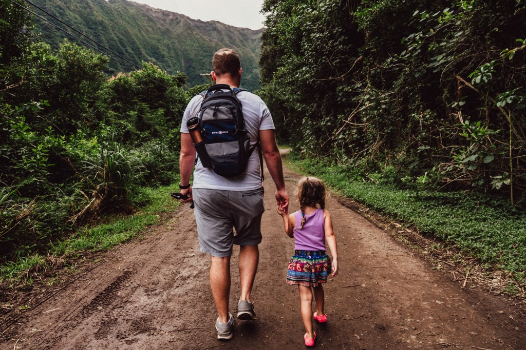 dad and daughter family hike photography