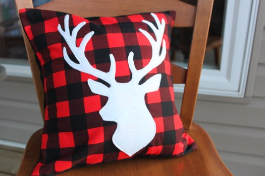 Buffalo Plaid Deer pillow
