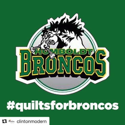 The Broncos team logo and team colours with hashtag quilts for broncos