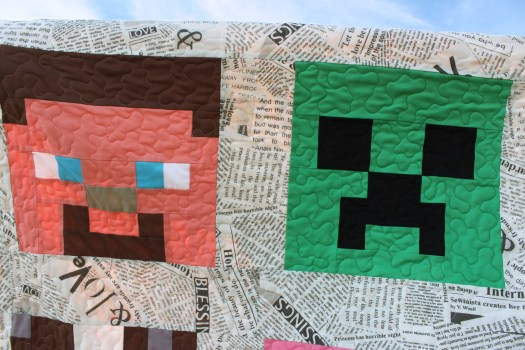 Steve and Creeper Minecraft quilt blocks.