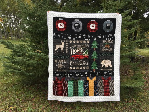 Holiday Lodge Christmas Throw Quilt Dark Version.