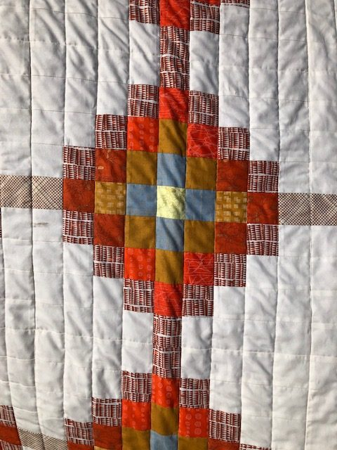 Carolyn Friedlander fabrics were used in the Glitched on Loading quilt.