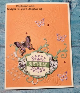 Embossed background using Stampin' Up! Butterfly Beauty Thinlits