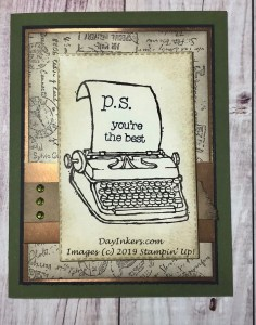 Stampin' Up! P.S. You're the Best paired with the Post Script background stamp. A CASE of Carmen Morris's card.