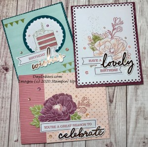 Examples of the cards in the February Lovely Day Paper Pumpkin kit made as designed.
