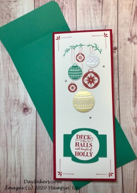 Slimline Christmas card in Real Red and Just Jade using Stampin' Up! Ornamental Envelopes and Christmas Gleaming.