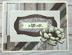 Note card featuring Stampin' Up! Tasteful Touches stamp set and dies and the In Good Taste designer series paper that is full of texture