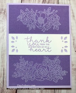 Highland Heather Velveteen paper from Stampin' Up! heat embossed with the Bloom and Grow stamp set by DayInkers.com