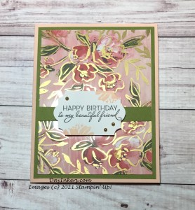 Fine Art Floral patterned paper with matching acetate overlay by Stampin Up used to create a birthday card.