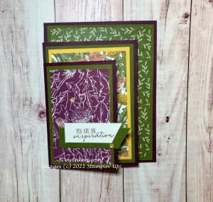 Four-fold card folded up. This one uses the Dandy Garden DSP from Stampin' Up!