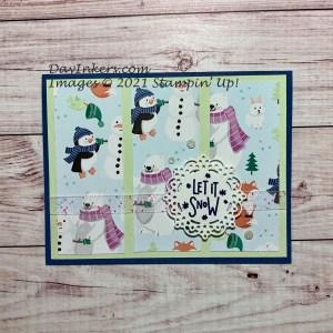 Penguin Playmates Saleabration Christmas card with Let it Snow sentiment.