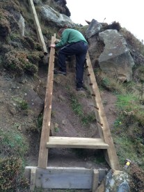 Josh making a start on the timber steps