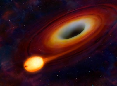 An artist's rendering of a star being distorted by its close proximity to a black hole