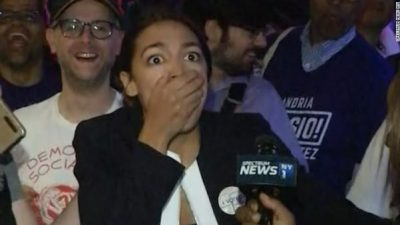 Ocasio Cortez stunned at victory