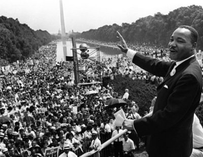 "King addresses the crowd with his ""I Have a Dream"" speech at the Mall in Washington during the March for Jobs and Freedom"