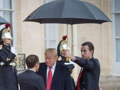 Trump under an umbrella