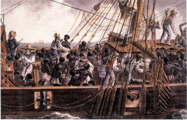 Painting of slave ship en route to America