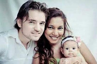 Malaysian actress Shuba Jay, with daughter and husband