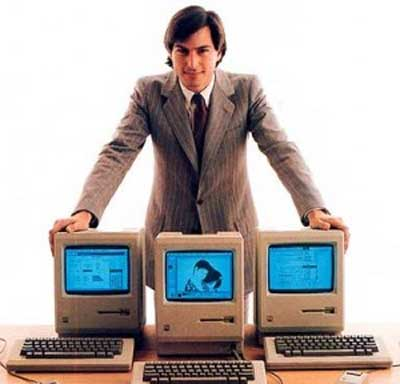 Steve Jobs hawking the early Macintosh computer