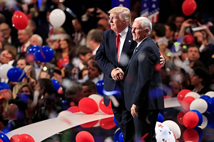 Mike Pence at the Republican Convention with Trump, 2016