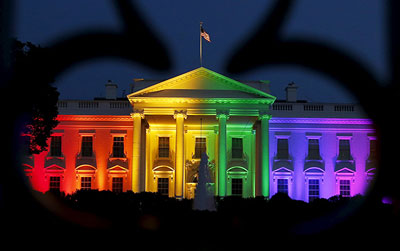 The White House celebrates marriage equality with rainbow lighting