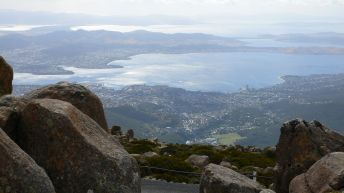 Hobart from Mt Wellington on a clear-ish day