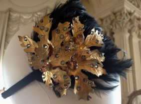 Gold leaf & feather head piece