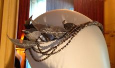 Silvery leaf & bead headress
