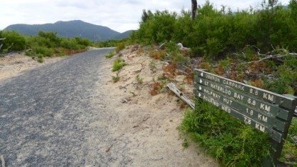Sign 'B' opposite Oberon Bay Walking Track, showing view north along Telegraph Track