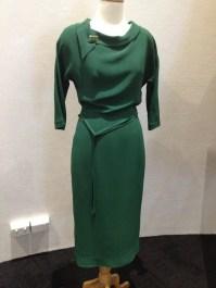 Jean - Green rayon evening 'date' dress with belt & green jade & silver broche (on green dress)